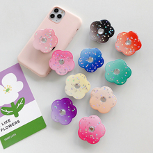 Hot sale brand new beautiful epoxy resin shiny flowers foldable airbag holder mobile