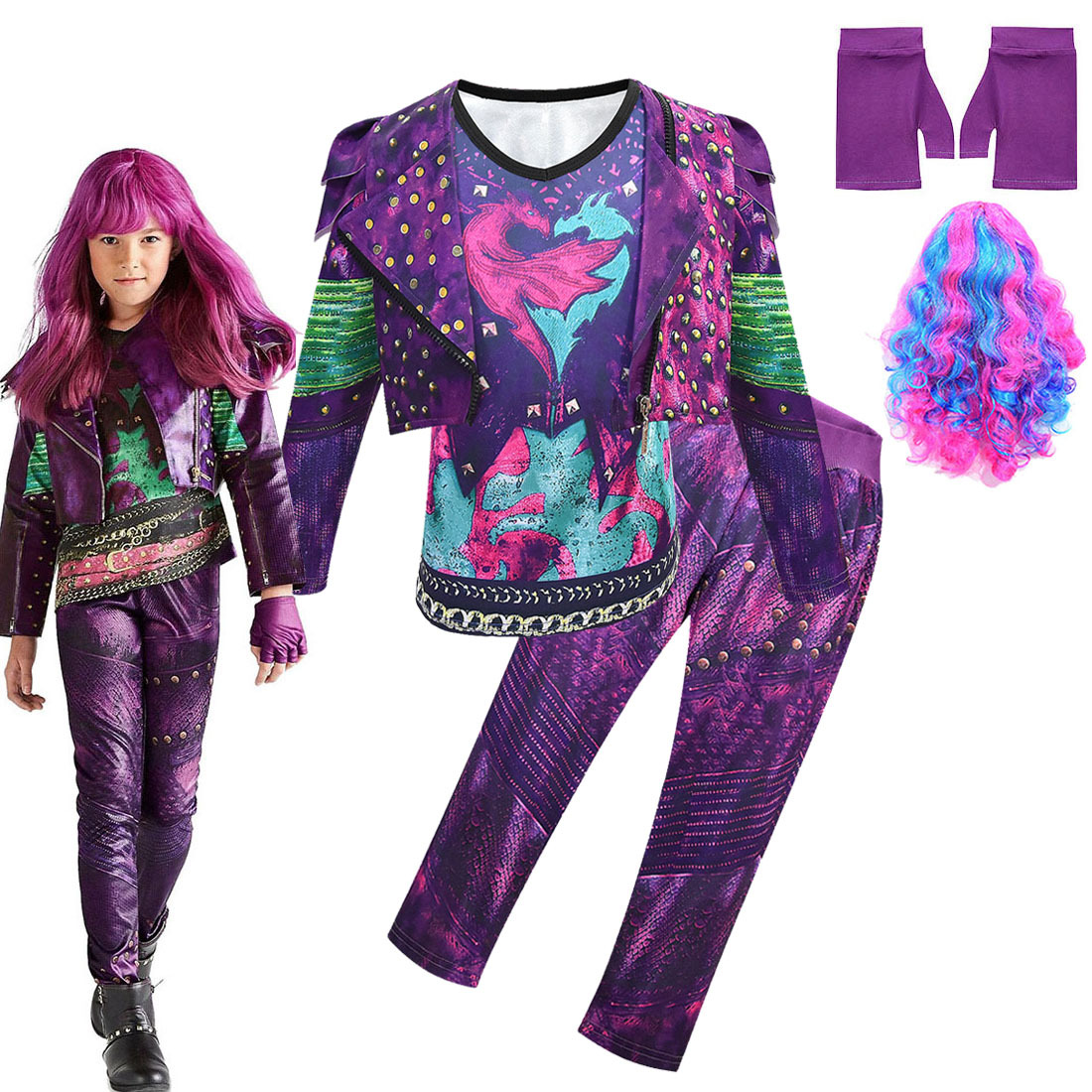 Purple Audrey Costumes Set Girl Halloween Costumes Kids Party Evie Descendants 3 Mal Cosplay Costumes Tees Jacket Wig Pants 4pcs