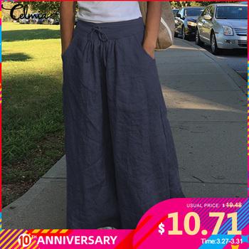 Moda szerokie spodnie nogi dla kobiet Celmia wysokiej talii bawełniana pościel Palazzo luźne spodnie na co dzień Vintage Pantalon Femme Plus rozmiar tanie i dobre opinie COTTON Pełnej długości Oversized Pants Female Casual Solid Long Pants Stałe Mieszkanie Osób w wieku 18-35 lat Kieszenie