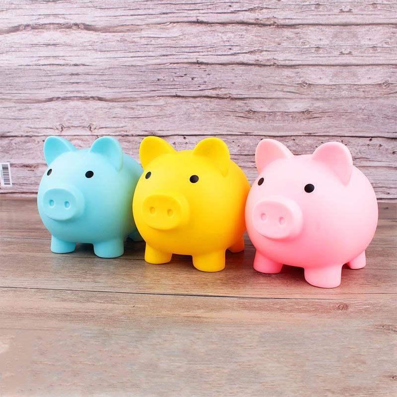 Karikatür domuz şekilli para kasaları çocuk oyuncakları doğum günü hediyesi ev dekor para tasarrufu kutuları kumbara 1 adet sikke saklama kutusu