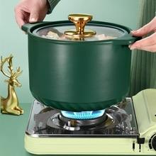 Soup-Pot Cooking-Pan Ceramic Casserole Kitchen-Supplies Saucepan Stew Pink Green Utensils