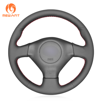 MEWANT Black Genuine Leather Hand Sew Wrap Car Steering Wheel Cover for Subaru Forester 2005-2008 Impreza 2005-2007 (WRX STI)