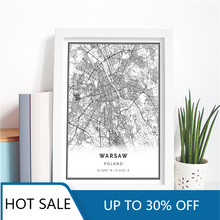 Polska warszawa mapa miasta obraz ścienny na płótnie plakaty z nadrukami dekoracje ścienne dla polaków Living Home estetyczna dekoracja wnętrz