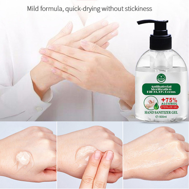 500ml Portable Hand Sanitizer Antibacterial Disinfectant Gel Disposable No Wash Bacteriostatic Hand Sanitizer for Kids Adults 2