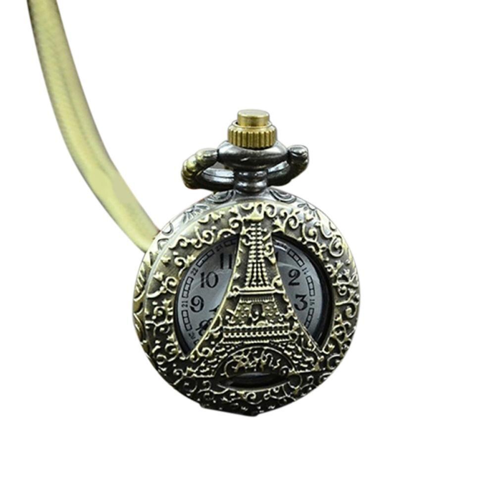 Watch Unisex Watch Retro Vintage Steampunk Clock Quartz Necklace Carving Pendant Chain Clock  Watch New Fob  Vintage Bronze Stea