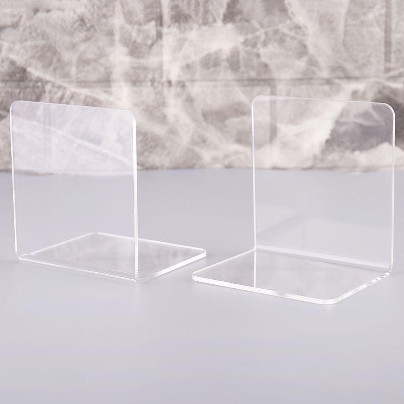 2Pcs L-Shaped Clear Acrylic Bookends Desk Organizer Desktop Shelf Book Holder School Stationery Office Accessories Decoration