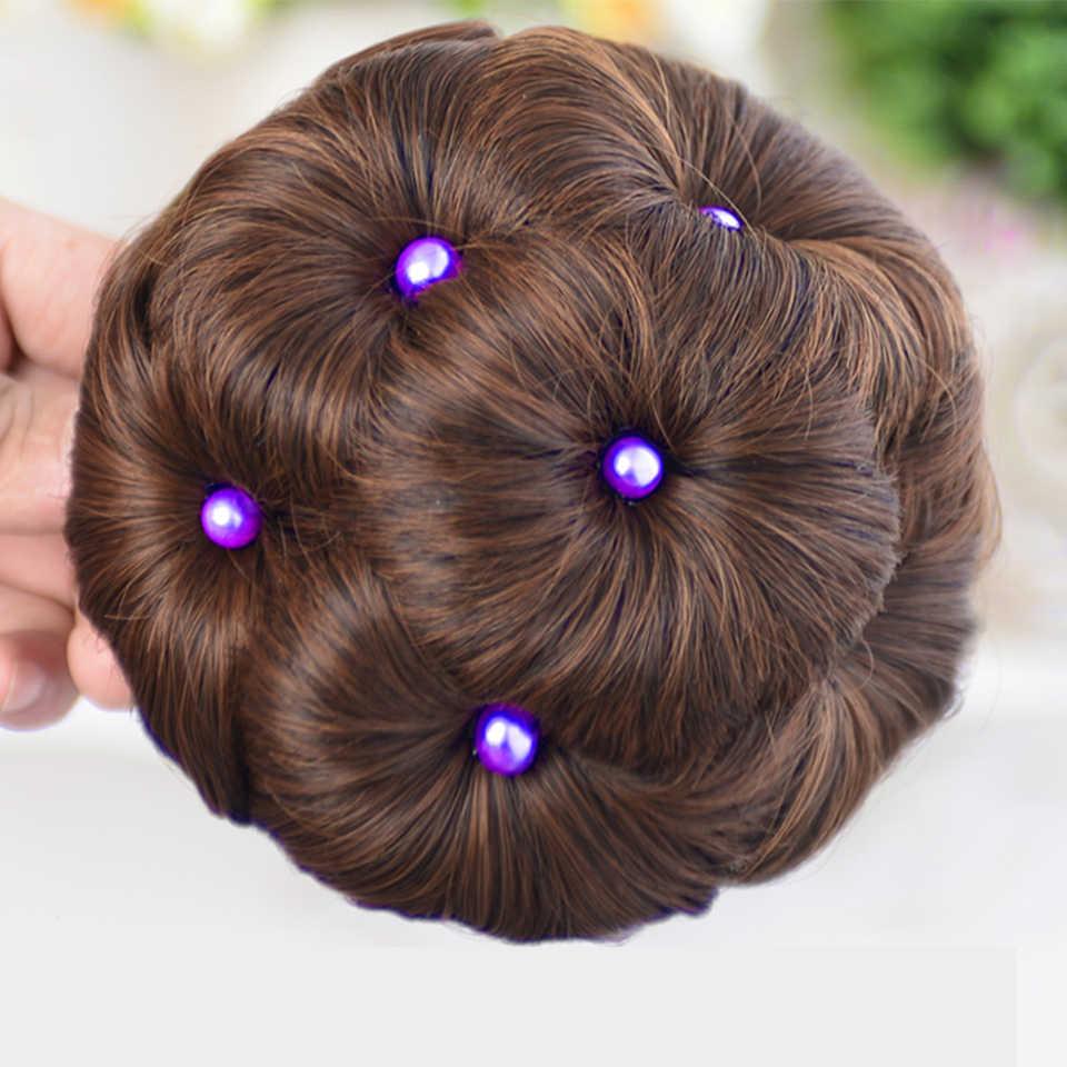 Accesorios para el cabello WTB fibra de alta temperatura sintético rizado Chignon bollo horquilla para mujeres 9 flores rodillo Clip en bollos falsos