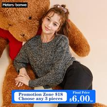 Metersbonwe  Cotton Knitted Sweater Women Pullovers Turtleneck Autumn Winter Basic Women Sweatersr Rose Pink Loose Fit
