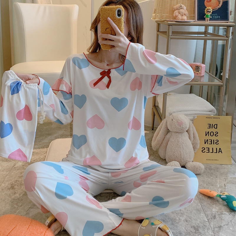 Korean-style Casual Comfortable Tracksuit Piece Women's 2020 Spring Clothing New Style Heart Shape Pattern Sweet Pajamas Suit