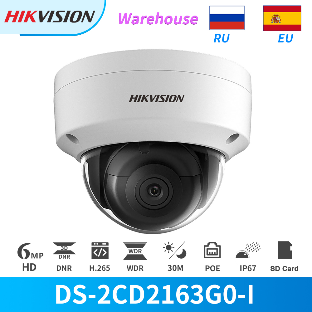 Hikvision IP Camera 6MP Dome PoE IR DS-2CD2163G0-I With SD Card Slot Face Detection IP67 CCTV Security Camera Outdoor Onvif H265 image