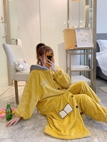 HaloSweet Winter Flannel Kimono Bath Robes Dressing Gown Women Bathrobe Cute Housecoat Coral Fleece Warm With Pants Two Pieces