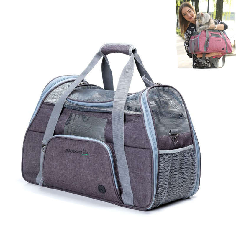 Dog Carrier Bag Portable Pet Backpack Breathable Messenger Cat Carrier Sport Riding Hiking Outdoor Pets Handbag French Bulldog