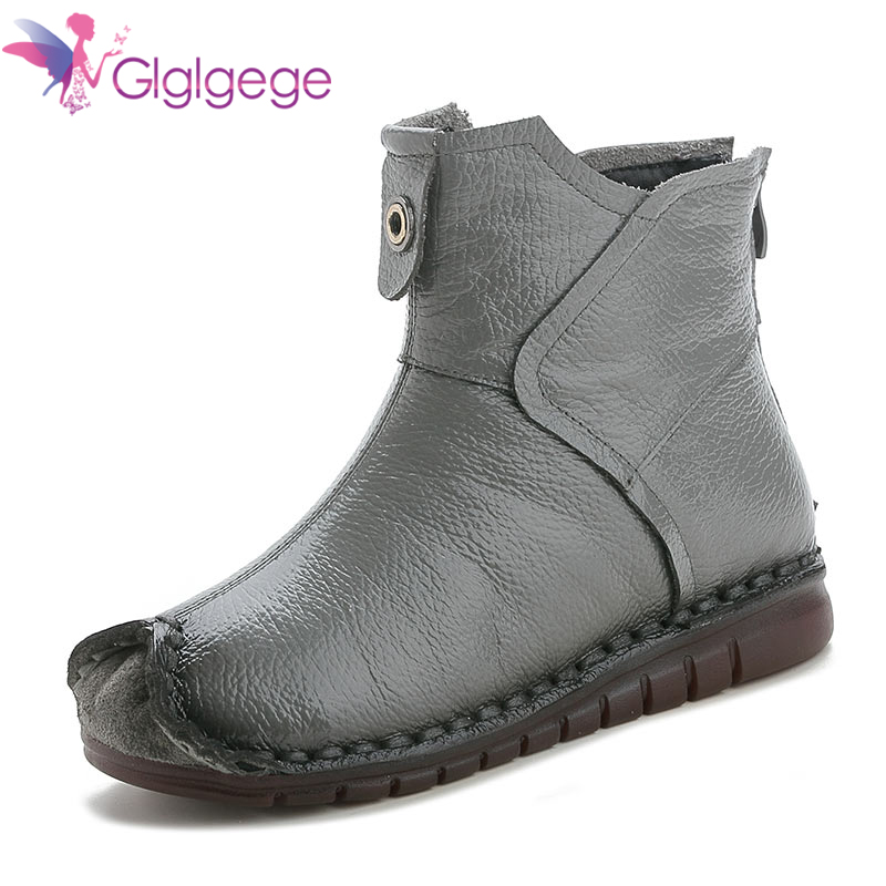 Buy Glglgege 2019 new arrival hot sale ankle boots for women round toe simple low heels boots female casual shoes wholesale