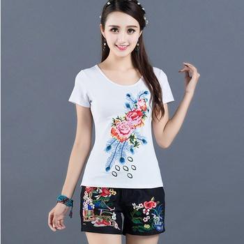 Panie chiński topy kobiety 2020 lato tradycyjna chińska odzież haftować rocznika T Shirt chiński styl odzież kobiety 11796 tanie i dobre opinie Tangslady Poliester CN (pochodzenie) WOMEN Suknem