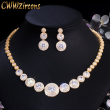 CWWZircons מדהים אפריקאי מעוקב Zirconia יוקרה דובאי הערבי זהב צבע מלא חתונה שרשרת עגילי תכשיטי סטי T319