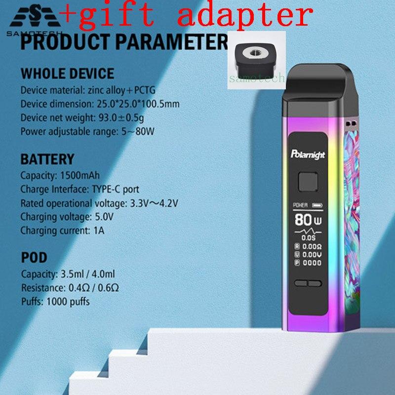 NEW Polarnight Taste King 80w Pod Kit Vape 1500mAh Battery With 4.0ml & Mesh Coil 3.5ML Pod 0.96 Inch TFT Color Screen Vapor