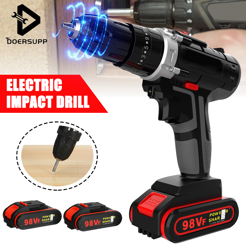 98VF Electric Impact Drill/Electric Drill Wrench Cordless Impact Drill Screwdriver Rotary LED 2-Speed 7500mAh Battery Power Tool