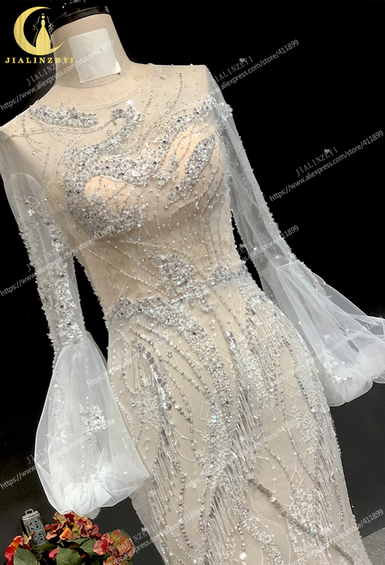 Image 4 - Rhine real Pictures long sleeves light grey with lace beads crystal mermaid sexy evening dress long formal dressesEvening Dresses   -