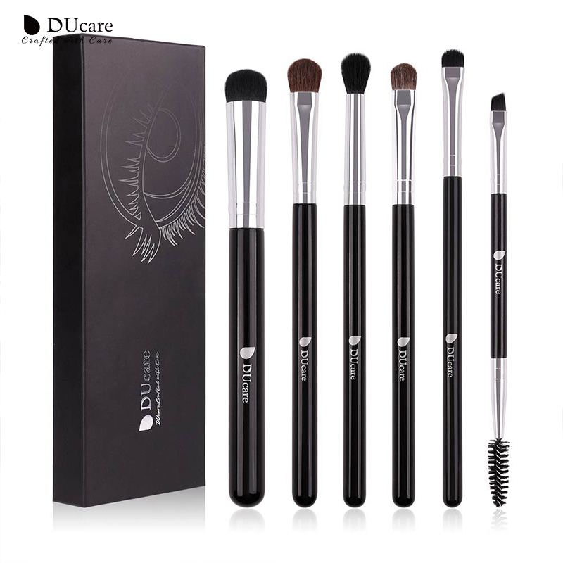DUcare Eyeshadow Brush 4/6PCS Makeup Brushes Blending Eyebrow Brush Nature Bristles Synthetic Hair Eye Shadow Brush Set