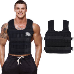 30KG Exercise Loading Weight Vest Boxing Running Sling Weight Training Workout Fitness Adjustable Waistcoat Jacket Sand Clothing