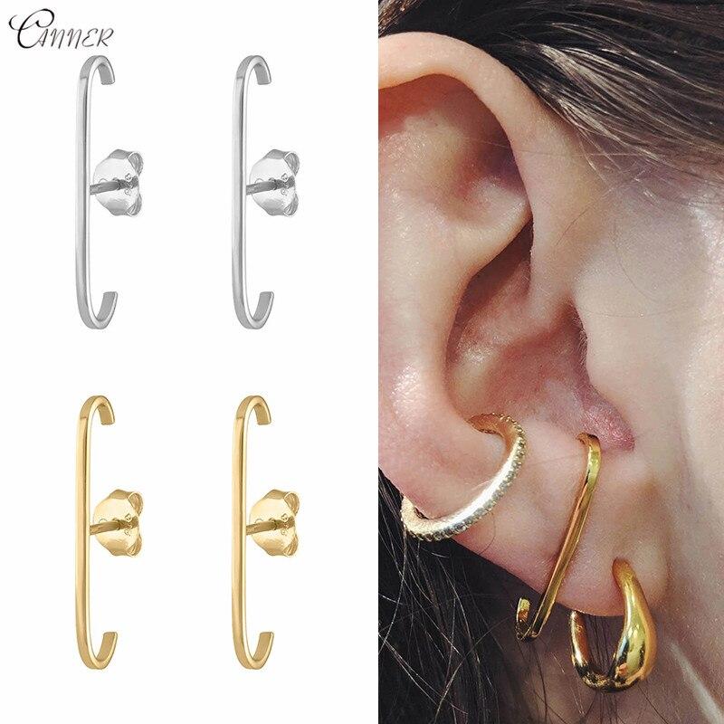 CANNER Minimalist 925 Sterling Silver Long Bar Earrings for Women Geometric E Shape Stud Earrings Vintage Party Office Jewelry