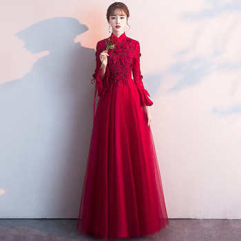 High Collar Evening Dresses Long Sleeve Women Party Gowns K294 Burgundy A-Line Robe De Soiree Beading Zipper Elegant Vestido