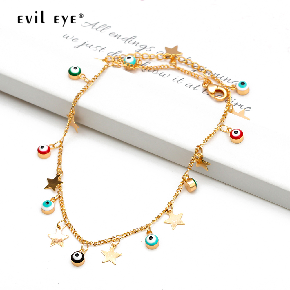EVIL EYE Star Charm Anklet Bracelet Gold Color Foot Chain Adjustable Turkish Eye Ankle Fashion Jewelry for Women Female EY6502