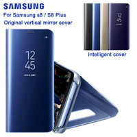 Samsung Original Mirror Clear View Cover For Samsung Galaxy S8 SM G9500 S8+ S8 Plus SM G9550 S View Flip Case with Kickstand
