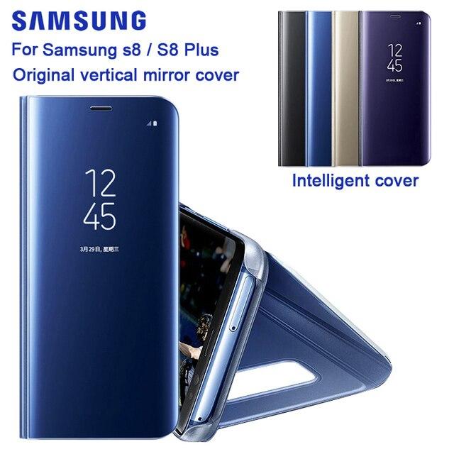 Samsung Originele Spiegel Clear View Cover Voor Samsung Galaxy S8 SM G9500 S8 + S8 Plus SM G9550 S View Flip case Met Kickstand