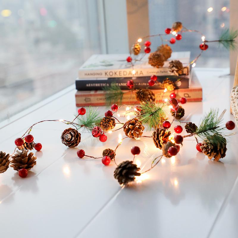 HiMISS Copper Wire String Light For Christmas Decor Warm White 2M 20LEDs PineCones Pine Needle Red Berry