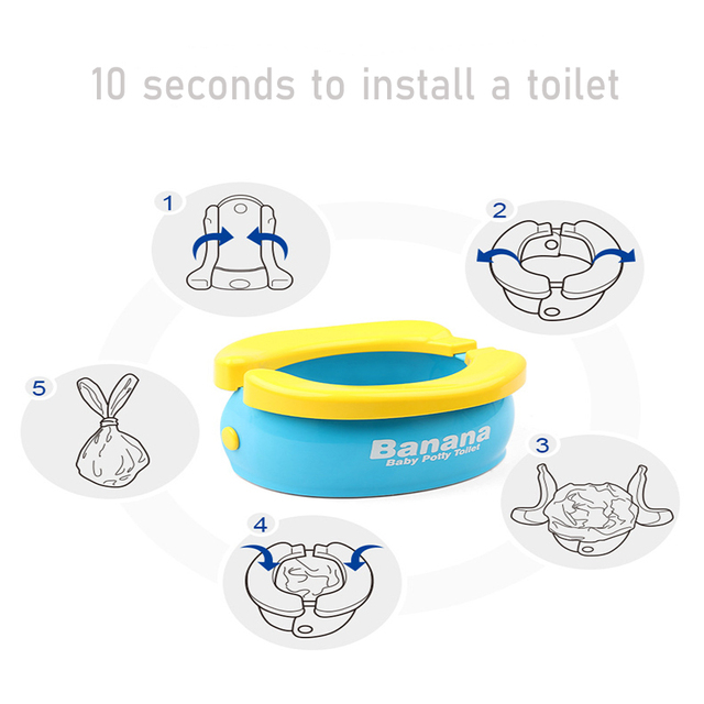 Portable Baby Toilet Foldaway Potty Children Vehicular Urinal With 20Pcs Urine Bags Kids Travel Toilet Seat Kids Outside Potty 3