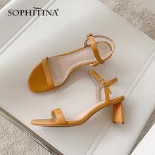 Сандалии sophitina женские кожаные Модная элегантная обувь ручной