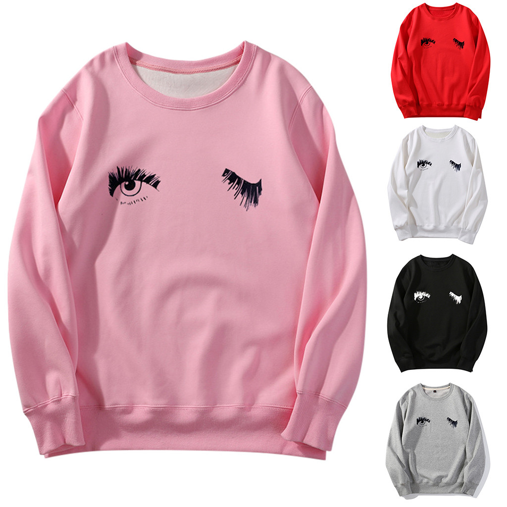 Women's Sweatshirt Ladies Long Sleeve Women Print Sports Loose Crew Neck Hoodie Winter Tops  Sweat-shirt femme%