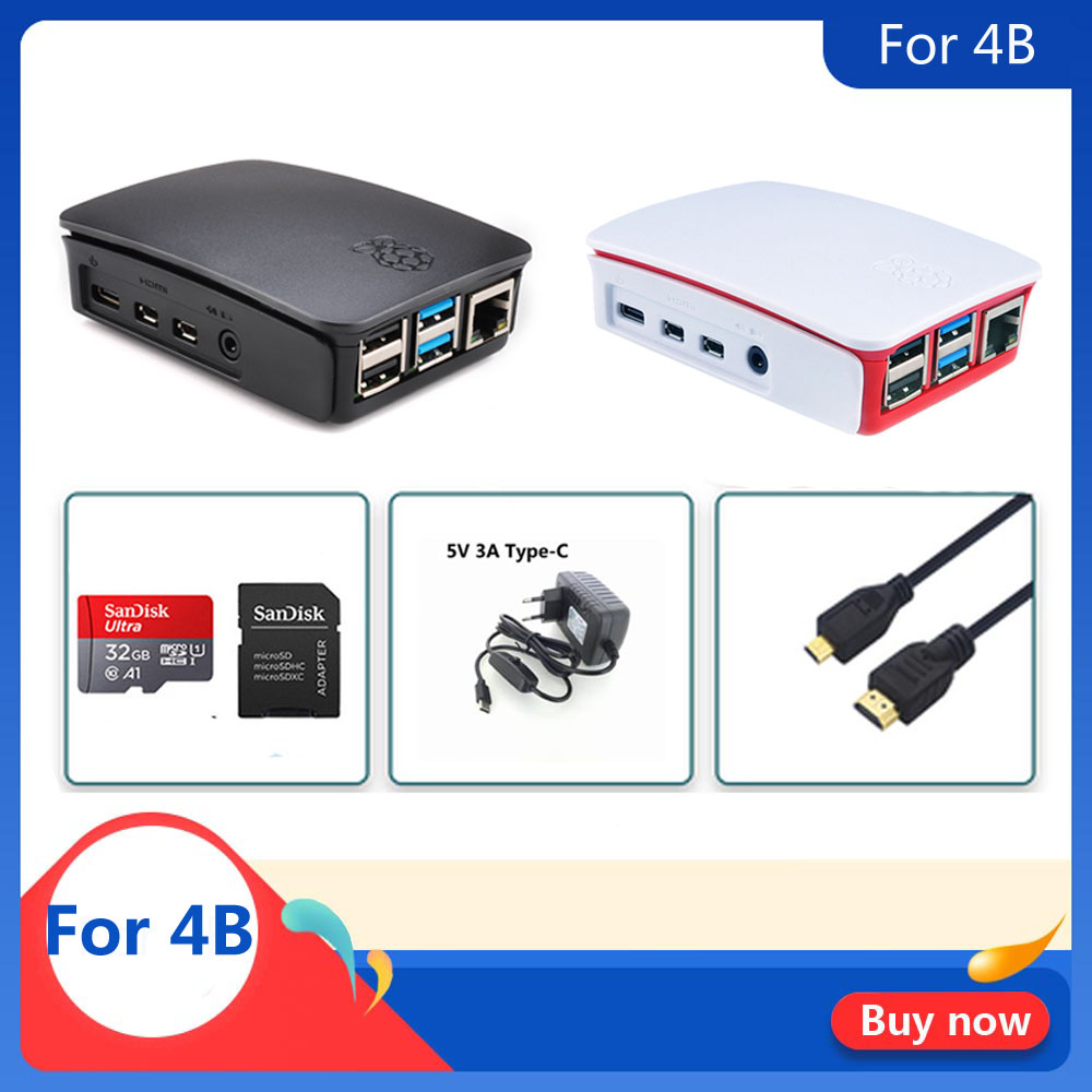 Raspberry PI 4 Model B Offical  Case  With 32GB SD Card+5V 3A Power + HDMI For Raspberry Pi 4B Free Shipping