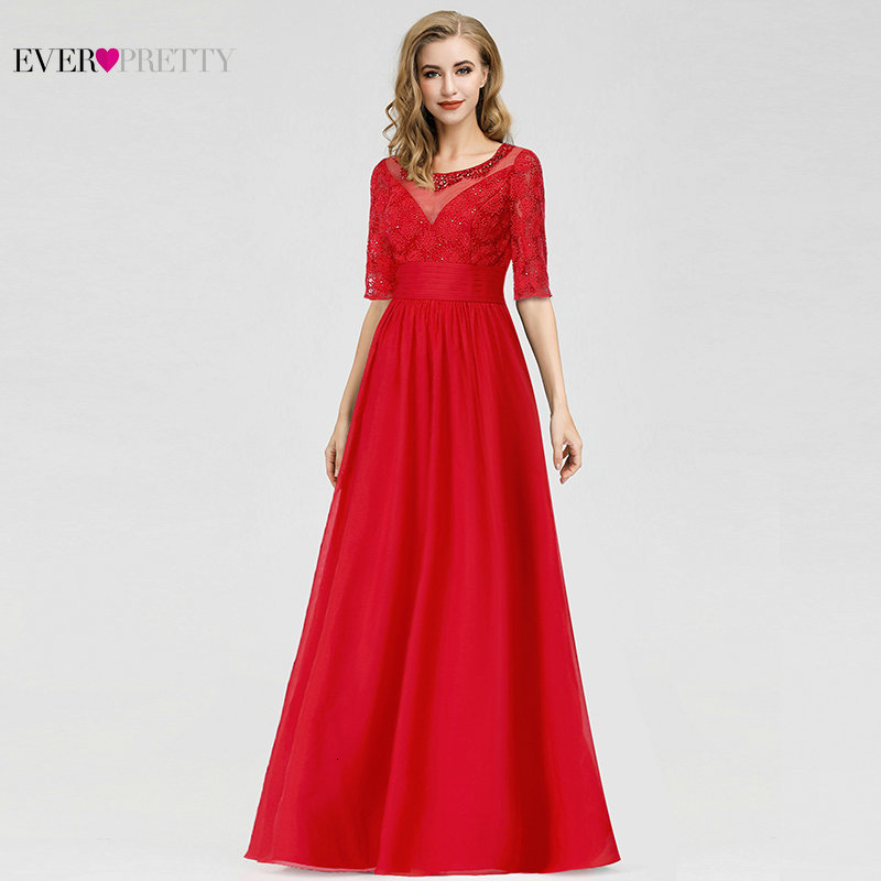 Ever Pretty Vintage Red Evening Dresses Long A-Line O-Neck Beaded Half Sleeve Elegant Chiffon Formal Party Gowns Robe De Soiree