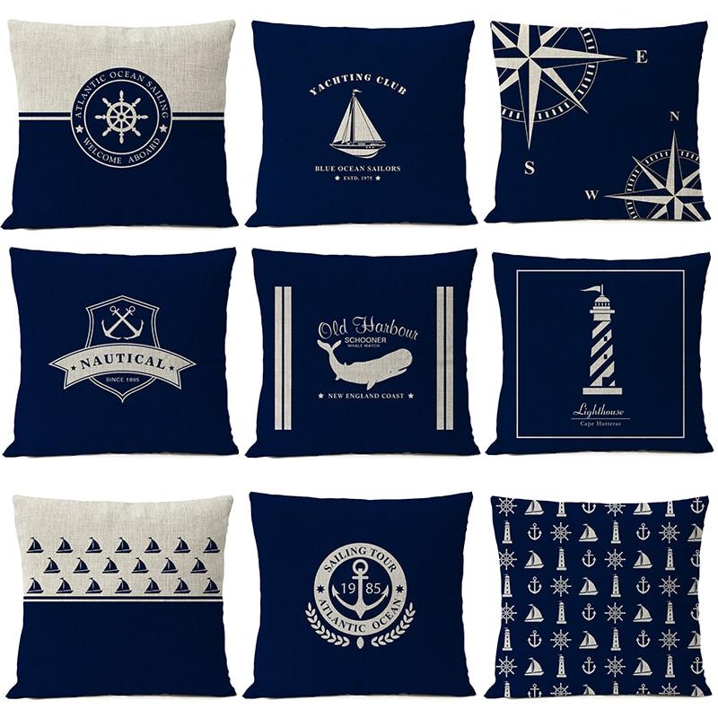 >Mediterranean Home Decorative Pillow Sea Blue <font><b>Nautical</b></font> Shell Fish <font><b>Anchor</b></font> Pillow Cover Linen Pillow Case Sofa cushion cover