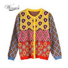 Brand Designer Women's Cardigan 2020 Vintage Contrast Geometric Heart Single Breasted Round Neck Open Stitch Cardigan C-495