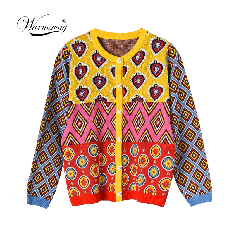 Brand Designer Women's Cardigan 2019 Vintage Contrast Geometric Heart Single Breasted Round Neck Open Stitch Cardigan C-495