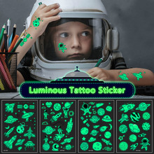 Fake Tattoos Stickers Glow-Face-Arm Universe-Space Temporary Waterproof Children Kid