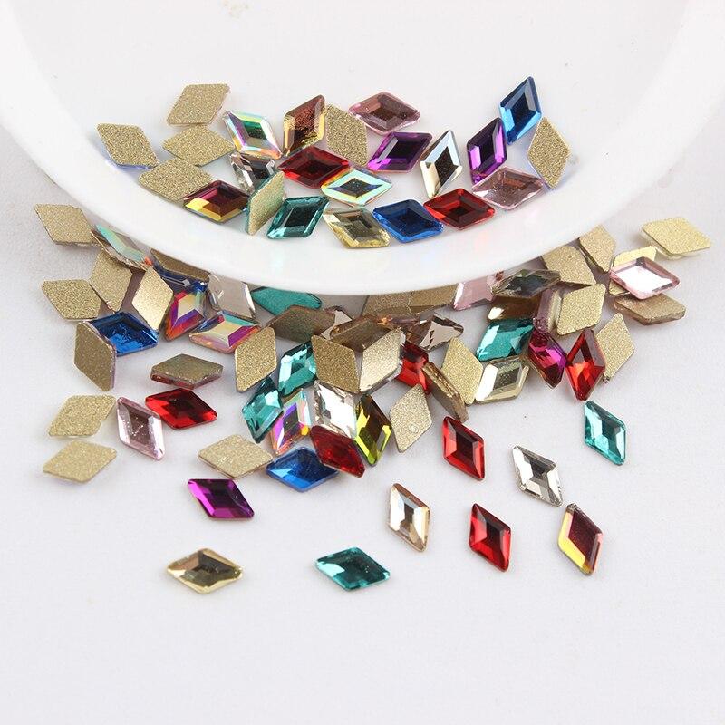 Все смешанные цвета, 30 шт, стразы для дизайна ногтей, сделай сам, без горячей фиксации, стеклянные камни для ногтей, драгоценные камни для 3D украшения для ногтей - Цвет: 5x8mm Flat Rhombus