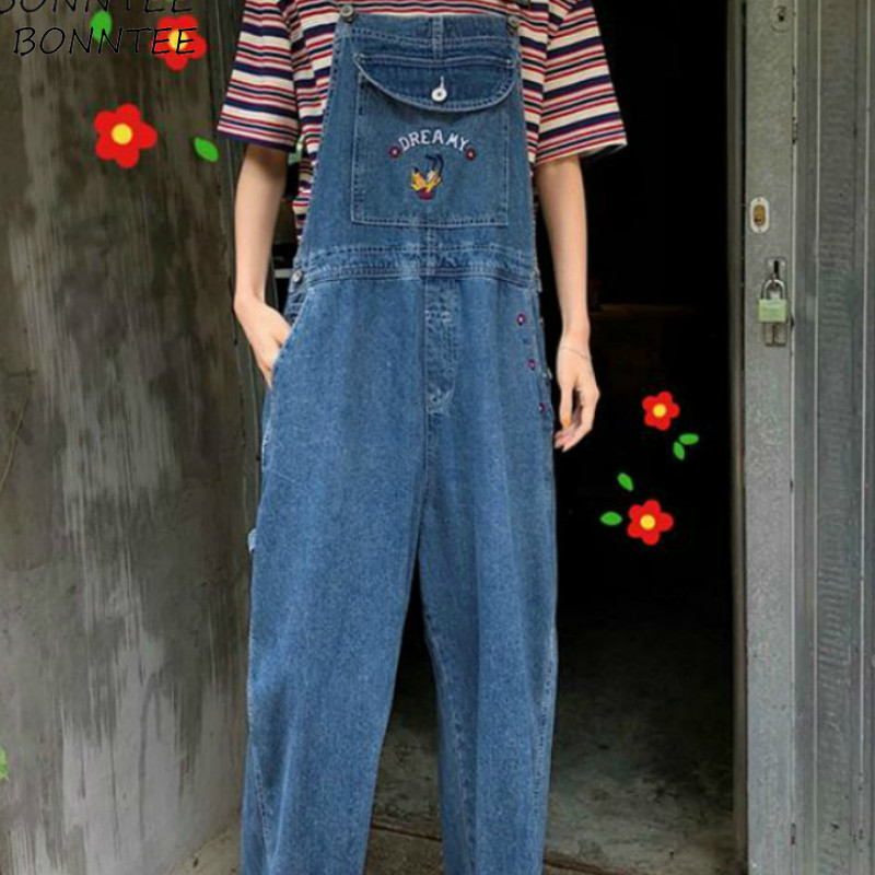 Jumpsuits Women Loose Pockets Denim Printed Korean Style Chic Trendy Leisure All-match Streetwear Womens Vintage Novelty Simple