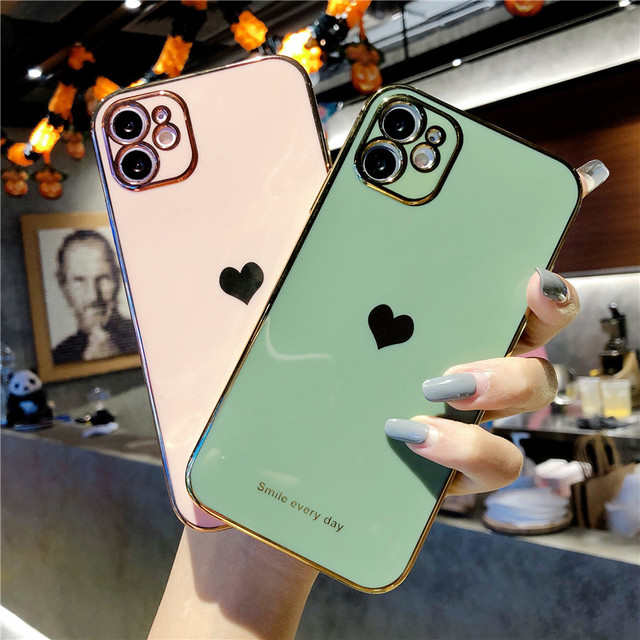 Electroplated Love Heart Phone Case For iPhone 12 Pro 11 Pro Max XR X XS Max 7 8 Plus Soft Silicone Camera Protective Back Cover 3