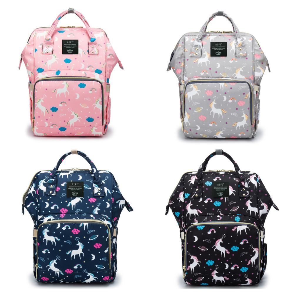 4 Colors Unicorn Printed Baby Diaper Bag Waterproof Mommy Handbag Large Capacity Maternity Backpack Baby Care Stroller Nappy Bag
