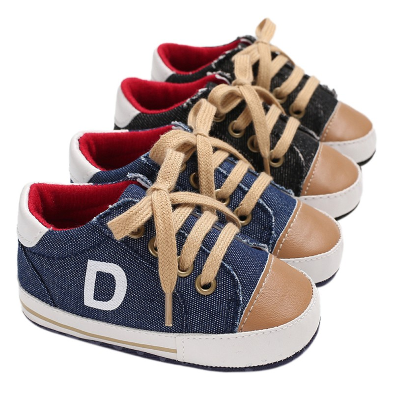 Baby Boy Shoes Newborn Toddlers Canvas Cotton Crib Shoes Lace Up Letter Print Casual Prewalker First Walkers