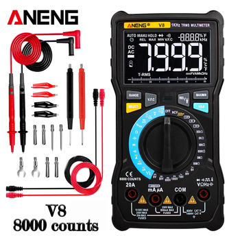 ANENG V8 Digital Multimeter True RMS Transistor Tester Analog Transistor Profesional 8000 Counts Digital Display Electrical 2sc2290 the transistor
