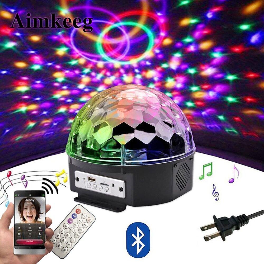 9 цветов LED Bluetooth Динамик диско шар света с Mp3 плеер Пром лазерный свет партии 18 W DJ Свет этапа лазерный лампа проектора