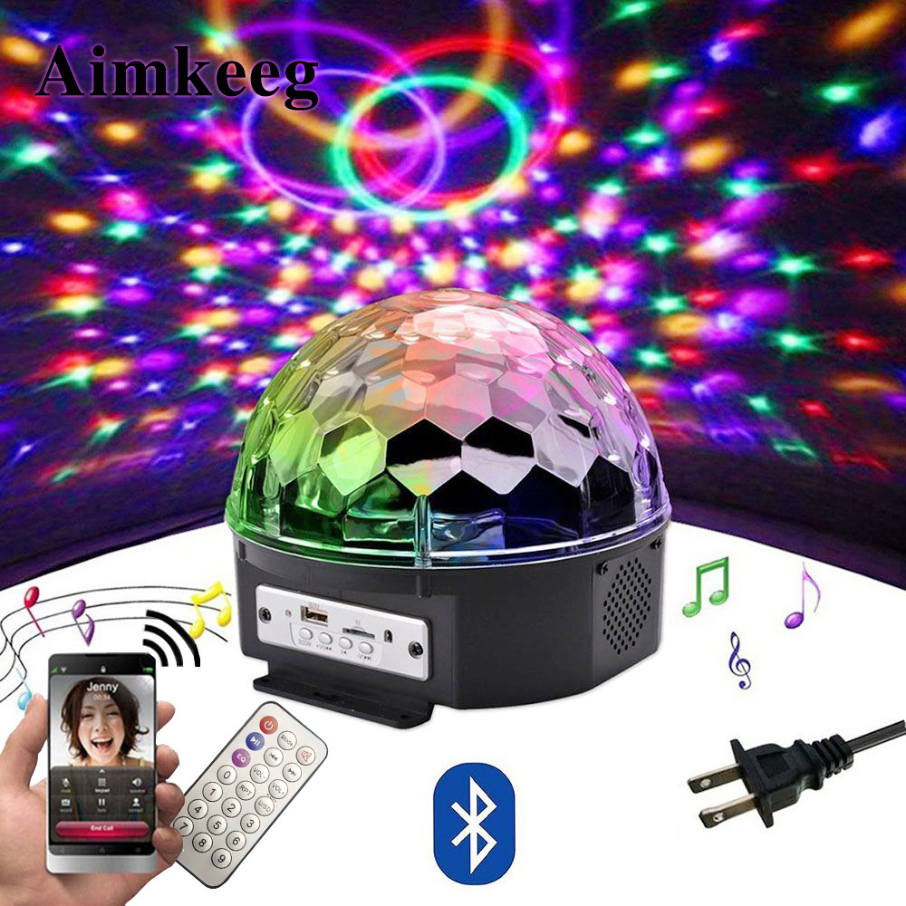9 Cor LEVOU Bluetooth Speaker Luz Bola De Discoteca Com Mp3 Player Prom 18 W De Luz Do Partido Do Laser DJ Luz Do Estágio Lâmpada De Projeção A Laser