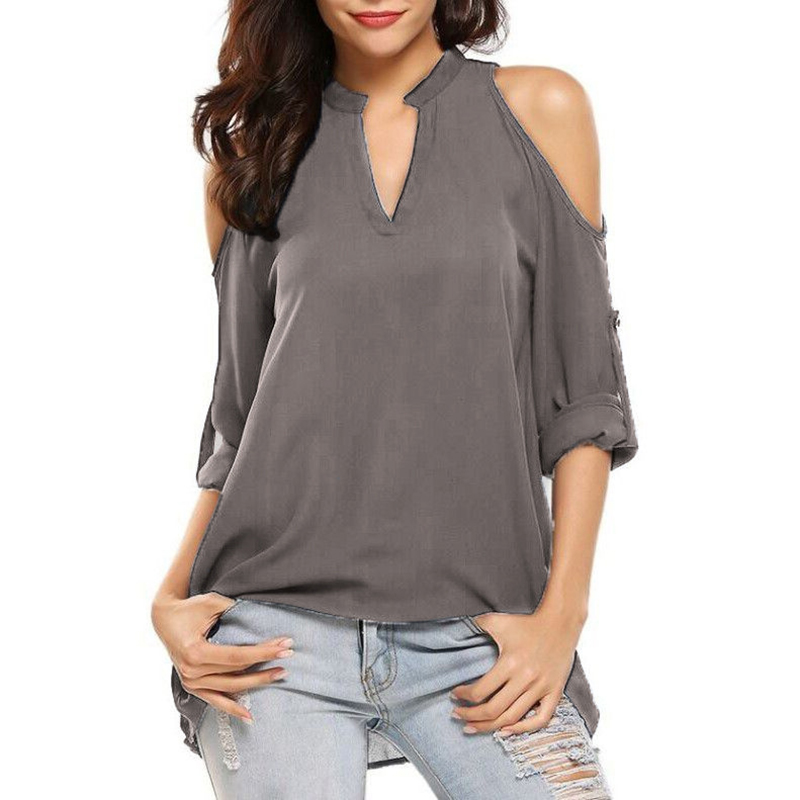 Купить женские шифоновые блузки cinessd с v образным вырезом и открытыми
