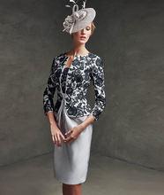 Платье для матери невесты Серебряный жакет Черное Кружевное