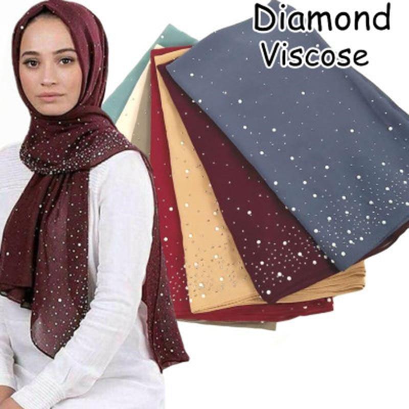 Chiffon Hijab Scarf Shawls Rhinestone Musulman Islamic Muslim Women Summer Glitter Femme